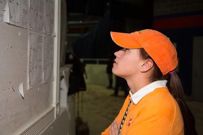 Angela Pollex checking the board
