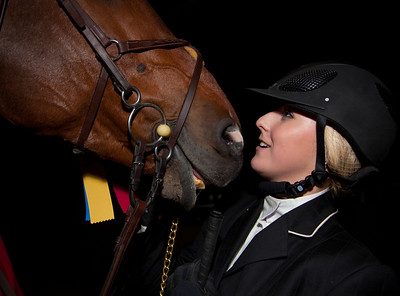 Ryan Goodman and her horse Pulsatilla W, winners of the WIHS Class 188 Children's Jumper Championships on Oct 26, 2011.