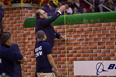 "$25,000 OPEN JUMPER PUISSANCE 1.70-1.80M Setting up for 7 feet Course designer Michel Vaillancourt ""I"" (Jumpers) takes measurement"