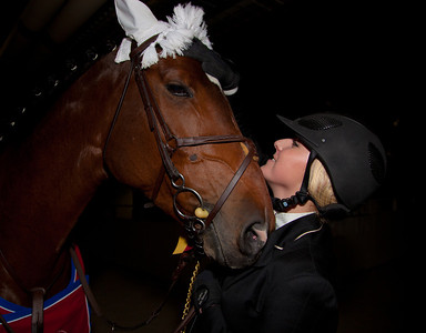 Ryan Goodman and her horse Pulsatilla W, winners of the WIHS  Class 188 Children's Jumper Championships