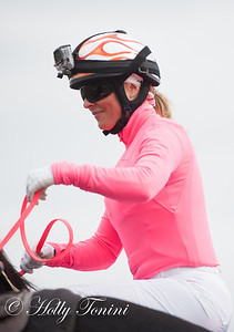 Jockey Chantel Sutherland wears a camera for her record breaking riding attempt at the Meadows Racetrack & Casino