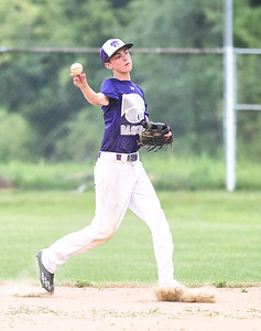 KRISTIN BAUER | CHRONICLE Keystone's second baseman Colin Brodnik (4) throws the ball to first to get an out against Medina on Thursday, July 27.