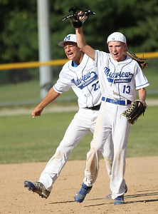 2013_07_28__ Jordan Cavanaugh (22) and Derek Rebman (13) celebrate the Midview N. Cavanaugh electric team's victory at the Hotstove State Championship in Alliance. photo by Ray Riedel