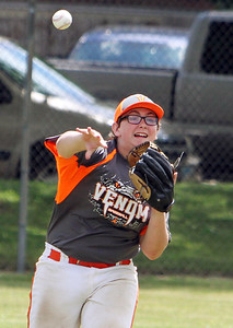 ANNA NORRIS/CHRONICLE Sheffield Venom left fielder Billy Liggitt makes the throw the third base against the Keystone Wildcats in the second inning of the class F regional Hot Stove baseball tournament game Sunday afternoon at Wellington Community Park.