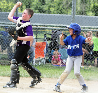 ANNA NORRIS/CHRONICLE Midview's Andre Grecu celebrates at home plate after being called safe on a close call at home plate against Keystone Lagrange Hardware in the second inning of the class GG Hot Stove regional tournament at Reservoir Park in Grafton Sunday afternoon.