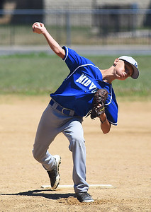 KRISTIN BAUER | CHRONICLE  Midview High School pitcher Ethan Surdock (14) pitches against South Amherst on Sunday afternoon, July 10.