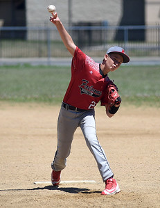 KRISTIN BAUER | CHRONICLE  South Amherst's Austin Copen (21) pitches against Midview on Sunday afternoon, July 10.