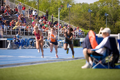 The start of the 800 Meter run!  I think the photographer wasn't ready!  The gun went off - the runners took off - and the camera focused on the crowd....:-\