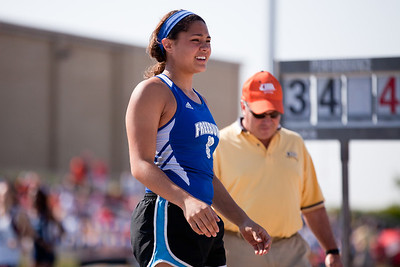 Abby Lealaimatafao, Freeburg High School sophomore, in the shot put during the Class 2A Girls IHSA State Track and Field competition at the O'Brien Stadium on the campus of Eastern Illinois University in Charleston, Illinois on May 18, 2012. (Jay Grabiec)