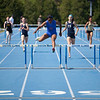 Markita Rush, East St. Louis High School senior, in the 300-Meter Low Hurdles during the Class 3A Girls IHSA State Track and Field competition at the O'Brien Stadium on the campus of Eastern Illinois University in Charleston, Illinois on May 18, 2012. (Jay Grabiec)