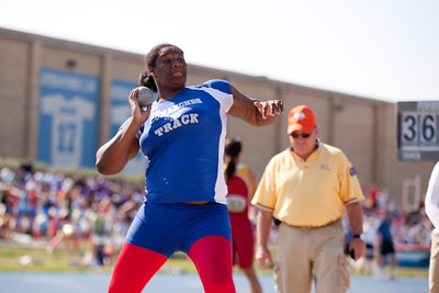 Lashonda Brewer, Cahokia High School sophomore, in the shot put during the Class 2A Girls IHSA State Track and Field competition at the O'Brien Stadium on the campus of Eastern Illinois University in Charleston, Illinois on May 18, 2012. (Jay Grabiec)