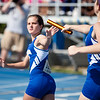 Paige Statler, Freeburg High School junior, hands the baton off to Taryne Knuckles, Freeburg freshman, in the 4x800 meter relay during the Class 2A Girls IHSA State Track and Field competition at the O'Brien Stadium on the campus of Eastern Illinois University in Charleston, Illinois on May 18, 2012. (Jay Grabiec)