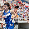 Kristen Busch, Freeburg High School senior, in the 1600 meter run during the Class 2A Girls IHSA State Track and Field competition at the O'Brien Stadium on the campus of Eastern Illinois University in Charleston, Illinois on May 18, 2012. (Jay Grabiec)