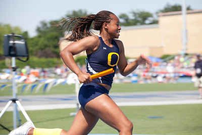 Jayda Hill, O'Fallon High School sophomore, in the 4X400 Meter Relay during the Class 3A Girls IHSA State Track and Field competition at the O'Brien Stadium on the campus of Eastern Illinois University in Charleston, Illinois on May 18, 2012. (Jay Grabiec)
