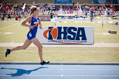 Morgan Mense, Freeburg High School junior, in the 4x800 meter relay during the Class 2A Girls IHSA State Track and Field competition at the O'Brien Stadium on the campus of Eastern Illinois University in Charleston, Illinois on May 18, 2012. (Jay Grabiec)