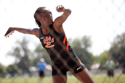 Aaliyah Covington, Edwardsville High School sophomore, in the discus throw during the Class 3A Girls IHSA State Track and Field competition at the O'Brien Stadium on the campus of Eastern Illinois University in Charleston, Illinois on May 18, 2012. (Jay Grabiec)