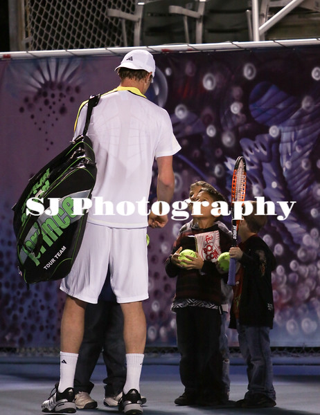 Sam Querrey<br /> 2009 Delray Beach International Tennis Championships - Second <br /> Round<br /> Querrey gives out a couple of autographs after he was defeated by Christophe Rochus<br /> Delray Beach, FL  USA - 02.26.09