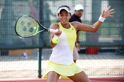 Ankita Raina (IND) in action at ITF World Tennis Tour 2019, on 18th Jan 2019 in Kallang Tennis Center at Singapore. Photo by - Sanketa Anand/SportSG