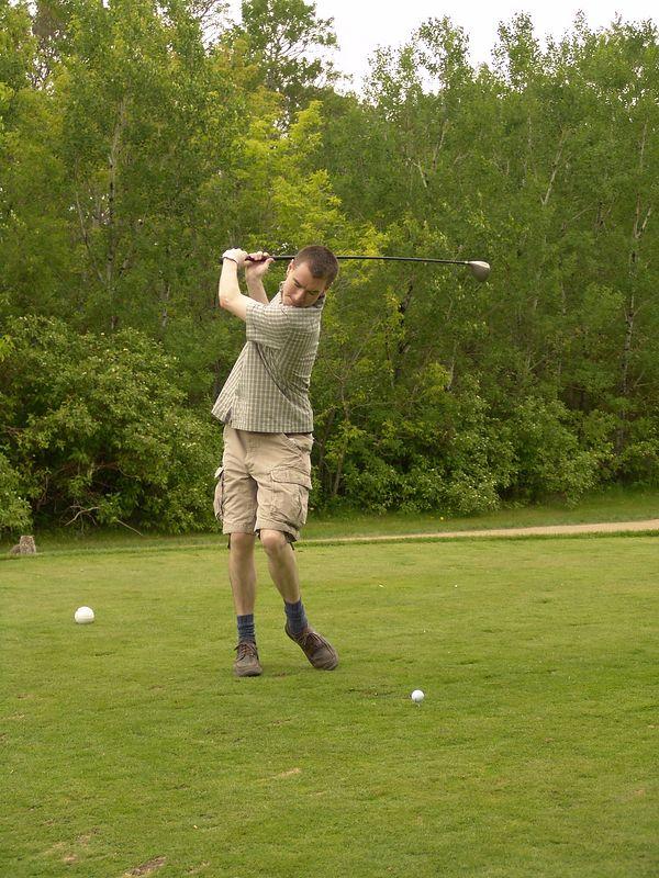 Brian in mid-swing.