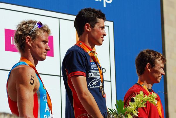 1st - Javier Gomez of Spain, <br /> 2nd - Brad Kahlefeldt of Australia,<br /> 3rd - Simon Whitfield of Canada