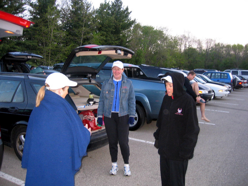 Bundled in fleece, Mary, Eileen and Nancy ponder what mid-day temps will be.  They actually crept into the 80s.