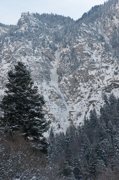 The Great White Icicle, pitches 2-4 from opposite side of Little Cottonwood Canyon. You can barely make out two climbers on pitch 4.