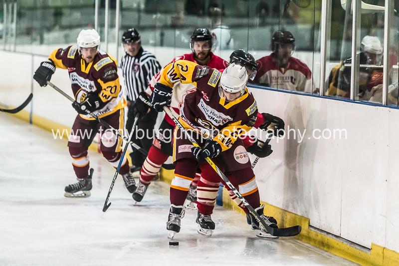 Ice Hockey match between 2 local rivals Billingham Stars v Whitley Bay Warriors. Warriors won 3-4. Photographs taken at Billingham Forum 15.10.2017.
