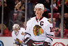 March 3, 2013; Detroit, MI, USA; Chicago Blackhawks center Jonathan Toews (19) before the game against the Detroit Red Wings at the Joe Louis Arena. Mandatory Credit: Tim Fuller-USA TODAY Sports