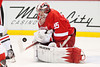 March 3, 2013; Detroit, MI, USA; Detroit Red Wings goalie Jimmy Howard (35) makes a save during the first period against the Chicago Blackhawks at the Joe Louis Arena. Mandatory Credit: Tim Fuller-USA TODAY Sports