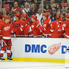 Sep 25, 2011; Detroit, MI, USA; Detroit Red Wings bench congratulates  center Valtteri Filppula (51) after scoring a goal against the Chicago Blackhawks during the first period at the Joe Louis Arena. Mandatory Credit: Tim Fuller-US PRESSWIRE
