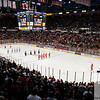 Sep 25, 2011; Detroit, MI, USA; The National Anthem is sung prior to the start of the preseason game between the Chicago Blackhawks  and the Detroit Red Wings at the Joe Louis Arena. Detroit won 4-3 in an overtime shout out. Mandatory Credit: Tim Fuller-US PRESSWIRE