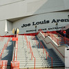 Sep 25, 2011; Detroit, MI, USA; A general view of the Gordie Howe entrance at the Joe Louis Arena prior to the game between the Chicago Blackhawks and the Detroit Red Wings. Mandatory Credit: Tim Fuller-US PRESSWIRE