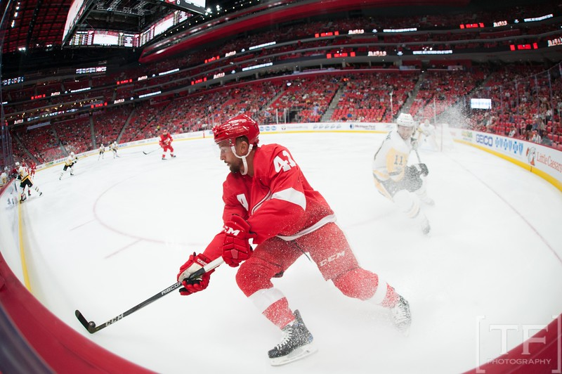 Sep 25, 2017; Detroit, MI, USA; Detroit Red Wings center Luke Glendening (41) during the first period against the Pittsburgh Penguins at Little Caesars Arena. Mandatory Credit: Tim Fuller-USA TODAY Sports
