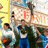 Record-Eagle/Douglas Tesner<br /> <br /> Iceman Cometh Challenge Bike Race winers Kelli Emmett, left, Alison Dunlap , andHeather Irmiger