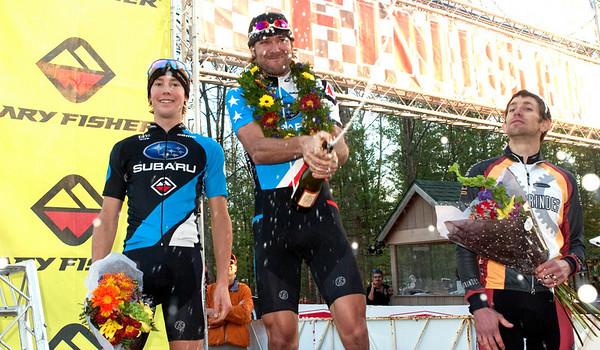 Record-Eagle/Douglas Tesner<br /> <br /> Iceman Cometh Challenge Bike Race winners Sam Schultz, Left, Jeremy Horgan-Kobelski, Brian Matter