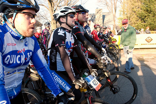 Record-Eagle/Douglas Tesner<br /> <br /> Riders in the the mens export group wait at the start line during the Iceman Cometh Challenge Bike Race.