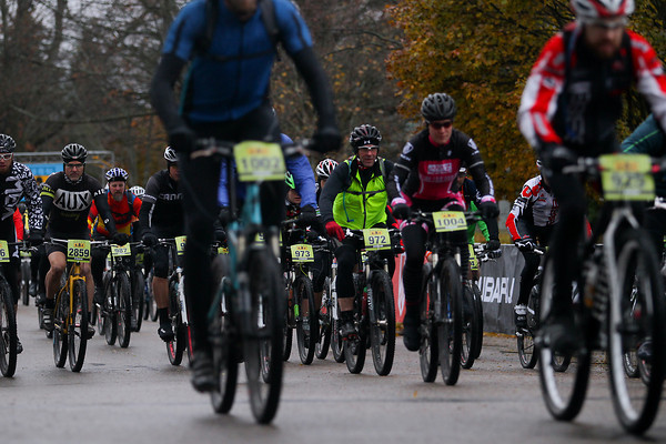 Record-Eagle/Keith King<br /> Riders take off from the starting line Saturday, November 2, 2013 during the 24th annual Iceman Cometh Challenge bicycle race.