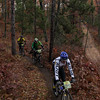 Record-Eagle/Keith King<br /> Jay Wardell, from front, Graham Moran and Scott Worden, compete Saturday, November 2, 2013 near Williamsburg Road during the 24th annual Iceman Cometh Challenge bicycle race.