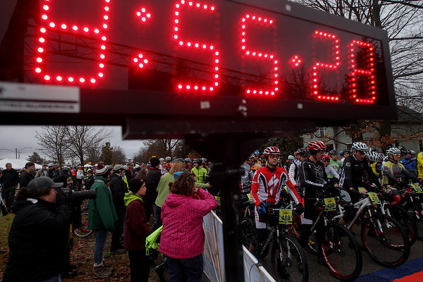 Record-Eagle/Keith King<br /> Riders gather at the starting line Saturday, November 2, 2013 for the 24th annual Iceman Cometh Challenge bicycle race.