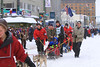15-year-old Conway Seavey, winner of the Jr. Iditarod in February, takes his place at the front of the starting line..