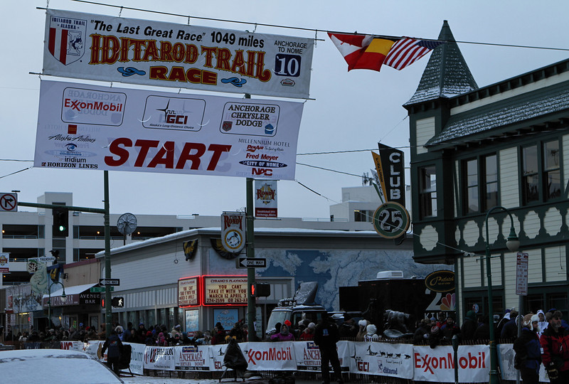 The ceremonial starting line of the 2010 Iditarod on Fourth Avenue in Anchorage