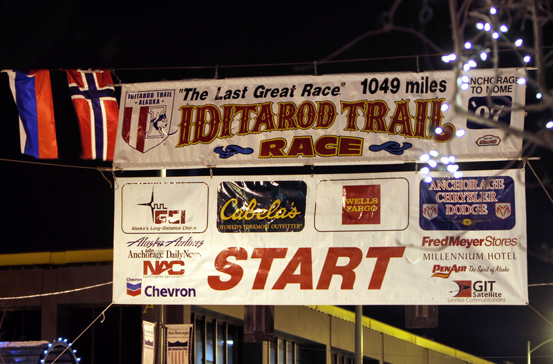 The Ititarod banner at Fourth and D in downtown Anchorage, the starting line for the ceremonial race, 11 miles of trail across Anchorage.