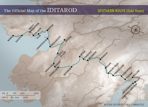 The official map of the Iditarod.  For some perspective, it is 77 miles from White Mountain, where all mushers must take an eight-hour layover, to Nome.
