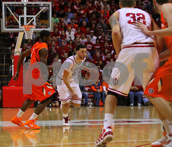 1/27/11- IU guard Jerimiah Rivers (#5) brings the ball up the court, against Illinois' defenders. IU went on to win, in a upset victory over No. 20 ranked Illinois with a 52-49 outcome.  Photo/Ron Foster Sharif