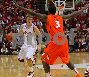 1/27/11- IU guard Jordan Hulls (#1) brings the ball up the court, as  Illinois' guard Brandon Paul (#3) defends. IU went on to win, in a upset victory over No. 20 ranked Illinois with a 52-49 outcome.  Photo/Ron Foster Sharif