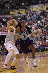 5-29-08 The matchup between Candace Parker and Indiana's Katie Douglas was classic and physical.