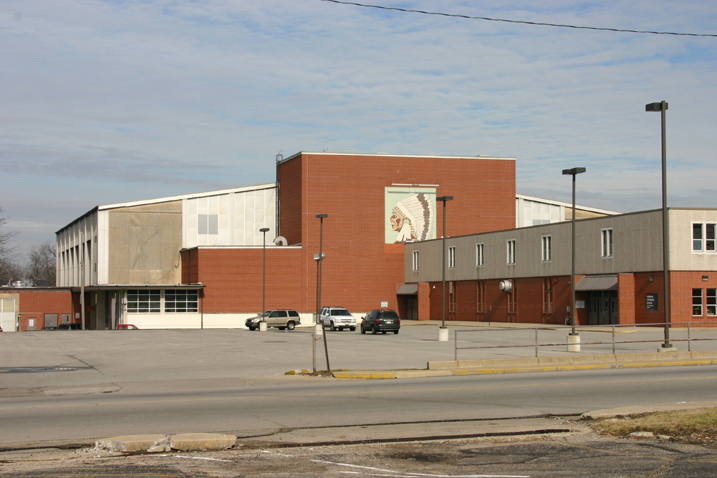 The Wigwam in Anderson, Indiana, Anderson High School Indians.  This arena opened in 1961 and has a capacity of 8,996. It is the second largest high school basketball arena in the United States after New Castle Fieldhouse in New Castle, Indiana. Photographed by Scott Walschlager Dec 2006.