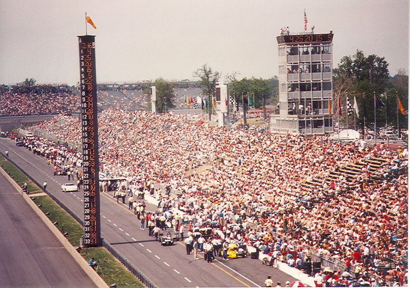 View from turn one.  Late 1980's during qualifications.