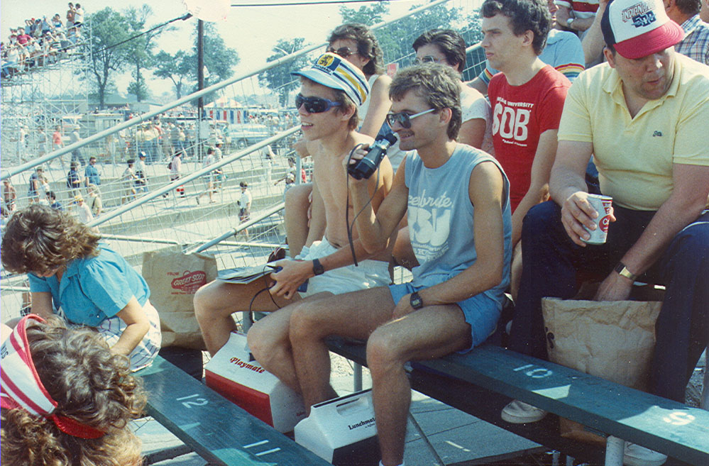 Kurt Smith and Mike Ellinger, 1980's when Danny Sullivan spun but didn't crash.