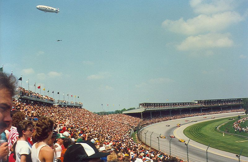Race Day seats in the short-chute between turns one and two.  Late 1980's
